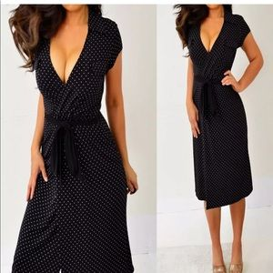 Merona Black Polka Dotted Belted Dress S Small